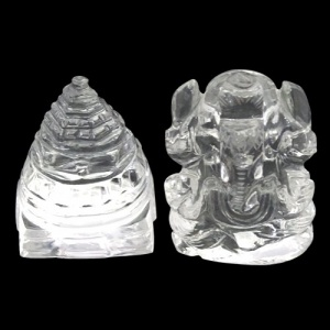 Crystal Sri Yantra and Ganesha Idol