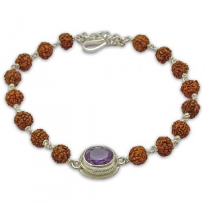 Rudraksha & Gem Bracelet For Aquarius (Kumbh)
