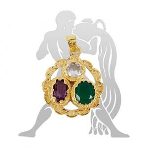 Golden plated Gems pendant for Aquarius (Kumbh)