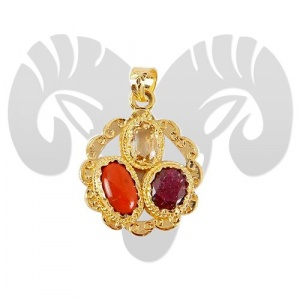 Golden plated Gems Pendant For Aries (Mesh)