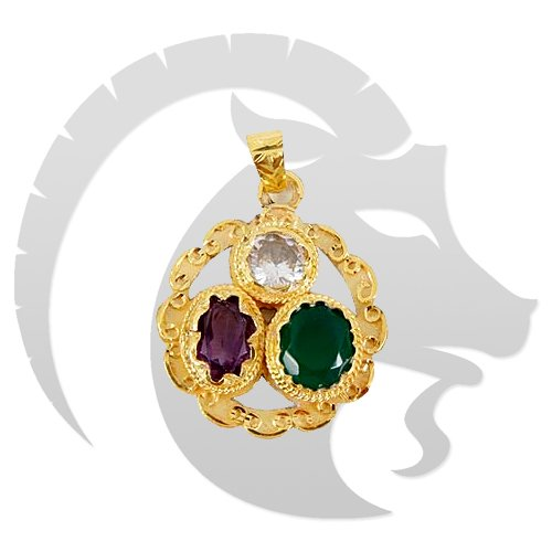 Golden plated Gems pendant for Capricorn (Makar)