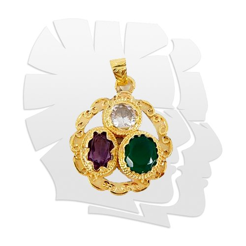 Golden plated Gems Pendant for Gemini (Mithun)