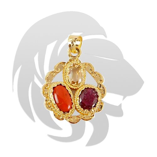 Golden plated Gems Pendant for Leo (Singh)