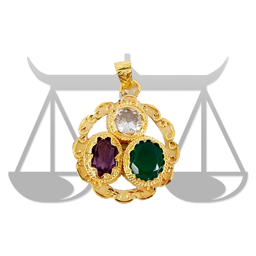 Golden plated Gems pendant for Libra (Tula)