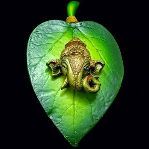 Lord Ganesha Idol on Leaf