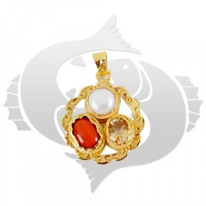 Golden plated Gems pendant for Pisces (Meen)
