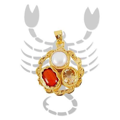 Golden plated Gems pendant for Scorpio (Vrischik)