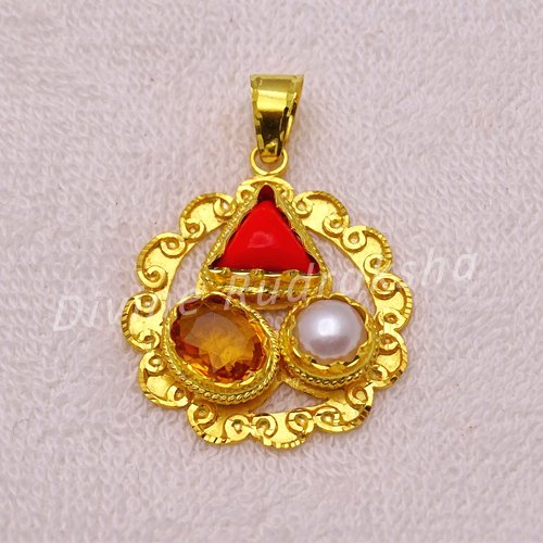 Golden plated Gems pendant for Cancer (Kark)