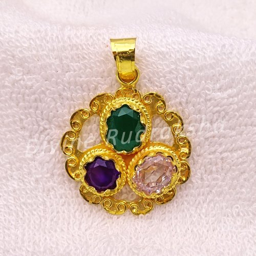 Golden plated Gems Pendant for Taurus (Vrishabh)