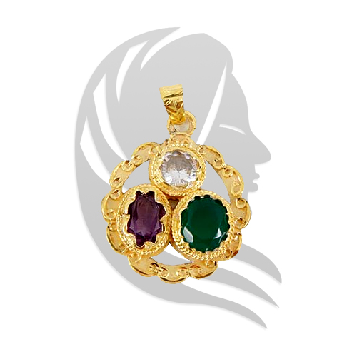 Golden plated Gems pendant for Virgo (Kanya)